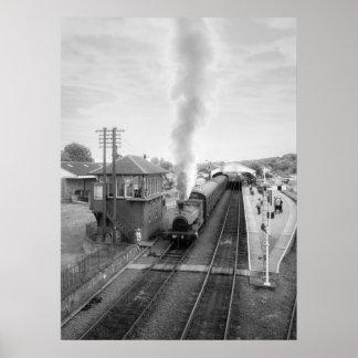 Steam train, Bo'ness Railway, black & white Posters