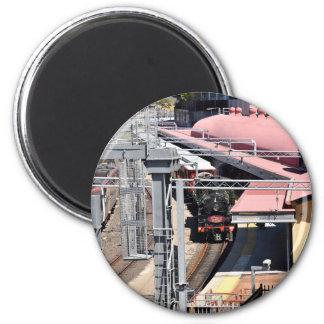 STEAM TRAIN BRISBANE AUSTRALIA 6 CM ROUND MAGNET