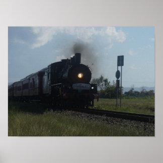 STEAM TRAIN & CARRIAGES RURAL QUEENSLAND AUSTRALIA PRINT