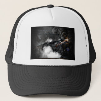 Steam train dark trucker hat