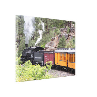 Steam train engine, Colorado, USA, 9 Canvas Print