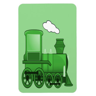 Steam Train Locomotive Green Rectangular Photo Magnet