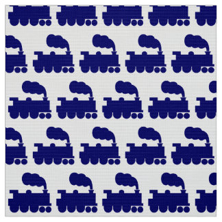 Steam Train Pattern - Deep Navy Blue and White Fabric