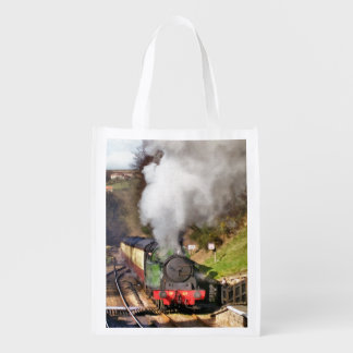 STEAM TRAINS REUSABLE GROCERY BAG