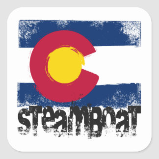 Steamboat Grunge Flag Square Sticker