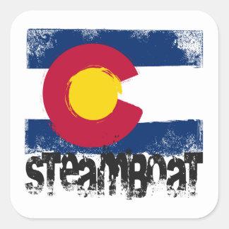 Steamboat Grunge Flag Square Sticker
