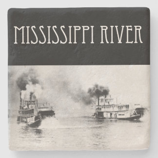 Steamboat race on the Mississippi River Stone Coaster