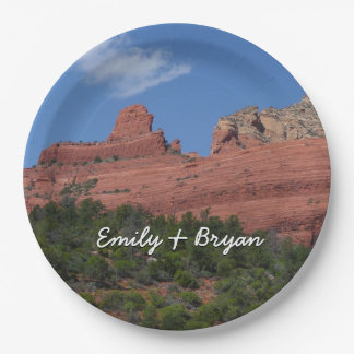 Steamboat Rock in Sedona Arizona Photography Paper Plate