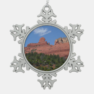 Steamboat Rock in Sedona Arizona Photography Snowflake Pewter Christmas Ornament