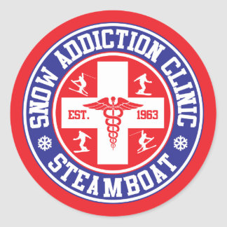 Steamboat Snow Addiction Clinic Classic Round Sticker