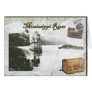 Steamboat travel on the Mississippi River Card