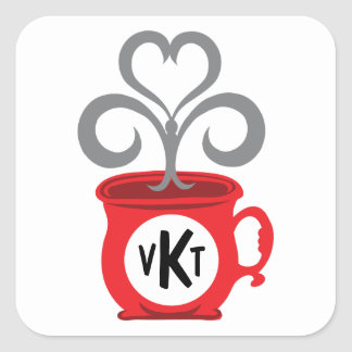 Steamed Coffee Cup Initial Square Sticker