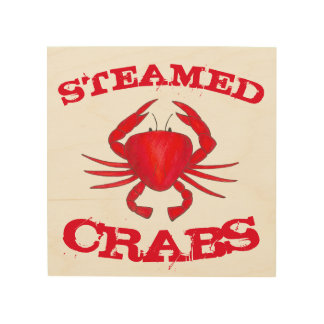 Steamed Crabs Red Maryland Seafood Kitchen Beach Wood Wall Decor