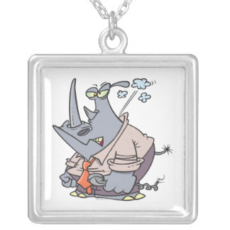 steamed mad cartoon rhino funny cartoon square pendant necklace