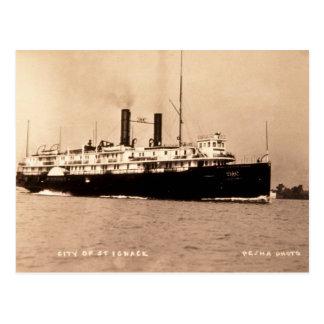 Steamer City of St. Ignace D&C Line  - Louis Pesha Postcard