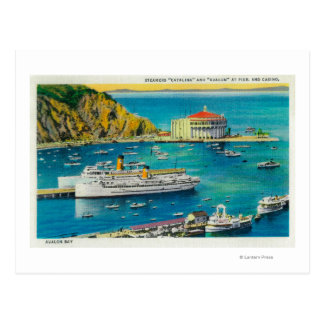 Steamers Catalina and Avalon at Pier, and Casino Postcard