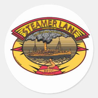 STEAMERS LANE SANTA CRUZ CA. CLASSIC ROUND STICKER