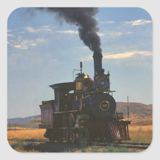 Steaming across the plain square sticker