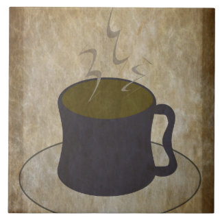 Steaming Cup of Coffee Large Square Tile