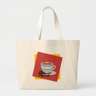 Steaming Cup Of Coffee With Coffee Beans Tote Bags