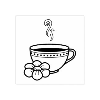 Steaming Cup of Herbal Tea Rubber Stamp