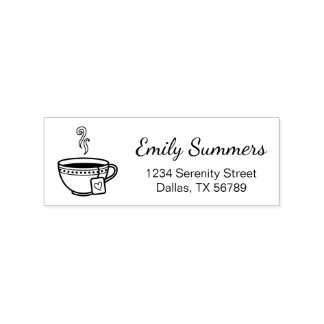 Steaming Cup of Tea Address Rubber Stamp