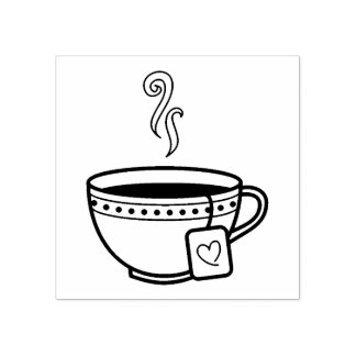 Steaming Cup of Tea Rubber Stamp