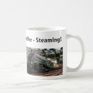 Steaming hot coffee coffee mug