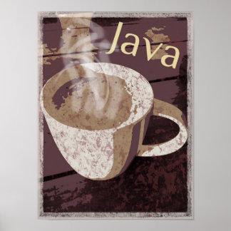 Steaming Rustic Java Mug Poster