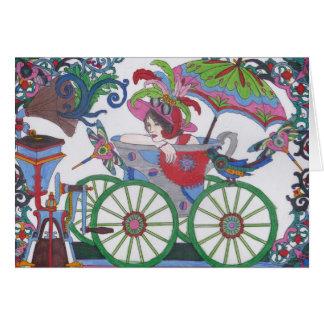 Steampunk 14 Woman in Red, Silver, Blue Bathtub Card