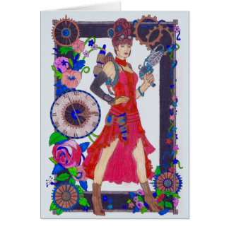 Steampunk #4 Personalized Red Dress & Flowers Card