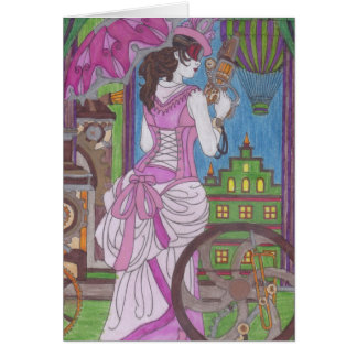 Steampunk 7 Pink Dress Birthday Card
