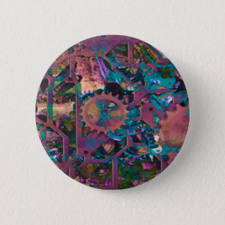 Steampunk, abstract 6 cm round badge