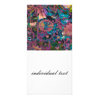 Steampunk abstract photo card template