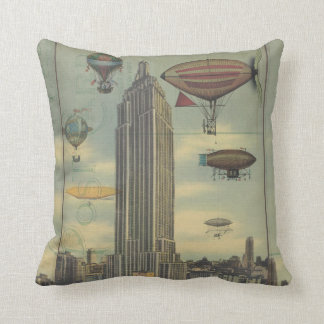 Steampunk Airships in the Sky over New York City Cushion
