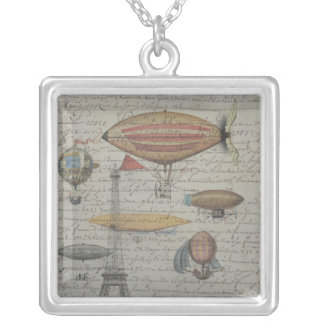 Steampunk Airships in the Sky over Paris, France Silver Plated Necklace