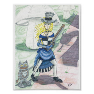 Steampunk Alice goes Jabberwock Hunting Poster