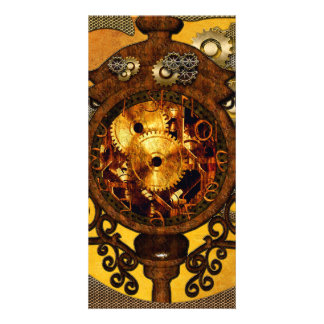 Steampunk,, awesome clock customized photo card