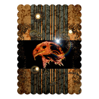 Steampunk, awesome eagle head with gears and clock 13 cm x 18 cm invitation card