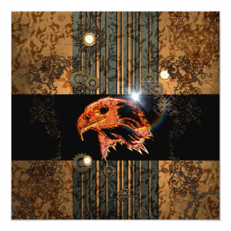 Steampunk, awesome eagle head with gears and clock 13 cm x 13 cm square invitation card