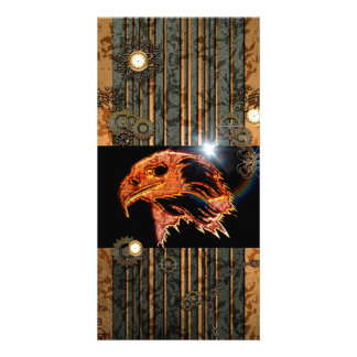 Steampunk, awesome eagle head with gears and clock personalized photo card