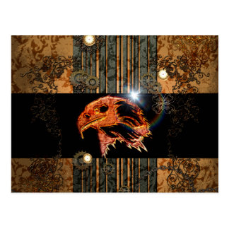 Steampunk, awesome eagle head with gears and clock postcard