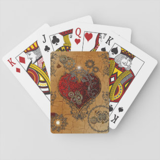 Steampunk, awesome heart playing cards