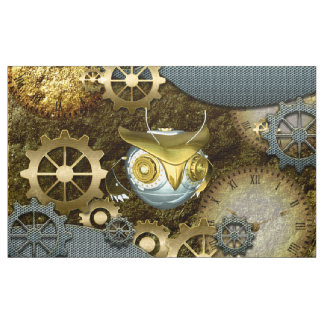 Steampunk, awesome   mechanical owl with gears fabric
