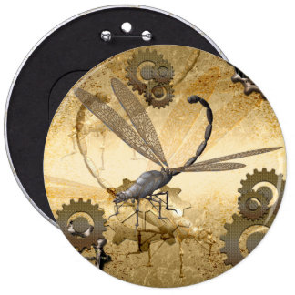Steampunk, awesome steam dragonflies with gears 6 cm round badge