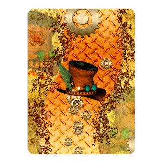 Steampunk, awesome steam hat 14 cm x 19 cm invitation card