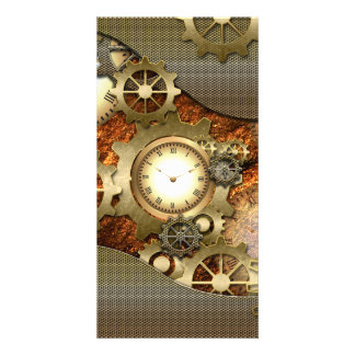 Steampunk, awesome steampunk design photo card template
