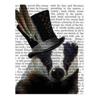 Steampunk Badger in Top Hat Postcard