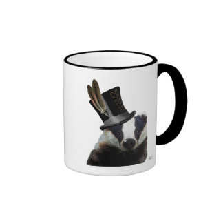 Steampunk Badger in Top Hat Ringer Mug