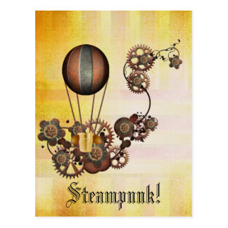 Steampunk Balloon Antique Yellow Postcard